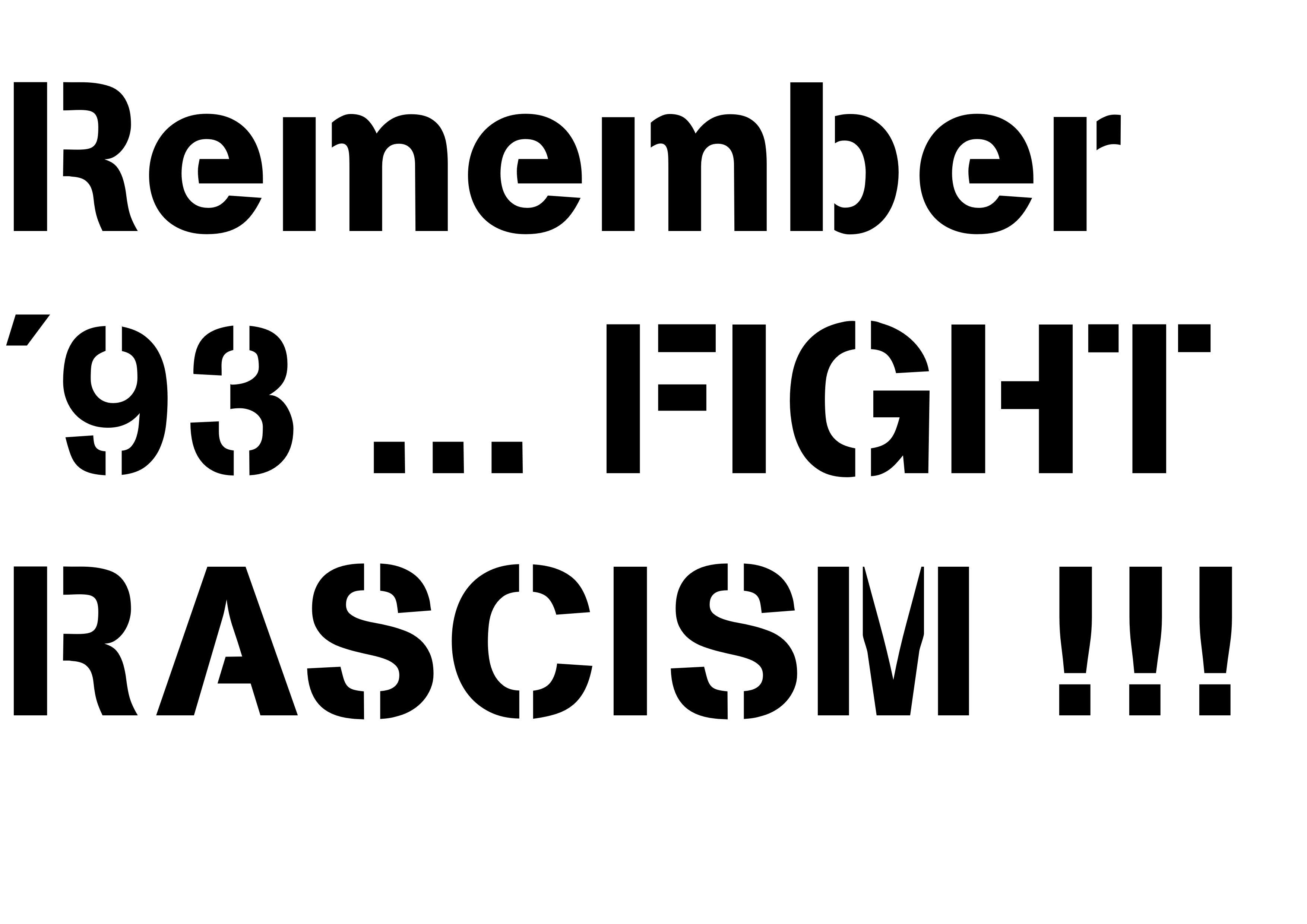 Stencil Rassismus Tötet Remember93